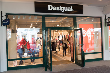 Parndorf, Austria, february 15, 2018: Desigual store in Parndorf, Austria. Desigual is a clothing brand headquartered in Barcelona, Catalonia, Spain founded in 1984 Thomas Meyer.