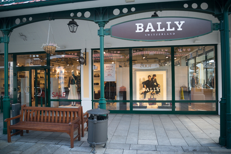 Parndorf, Austria, february 15, 2018: Bally store in Parndorf, Austria. Bally is a Swiss luxury fashion company founded in 1851 by Carl Franz Bally.