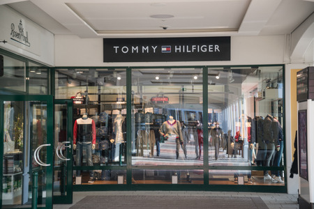 Parndorf, Austria, february 15, 2018: Tommy Hilfiger store in Parndorf, Austria. Tommy Hilfiger is an American multinational corporation founded in 1985
