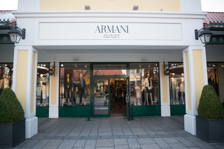 Parndorf, Austria, february 15, 2018: Armani outlet store in Parndorf, Austria. Armani is an Italian fashion house founded by Giorgio Armani in 1975