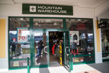 Parndorf, Austria, february 15, 2018: Mountain Warehouse store in Parndorf, Austria. Mountain Warehouse is a British outdoor retailer selling equipment, founded in 1997 by Mark Neale. Editorial