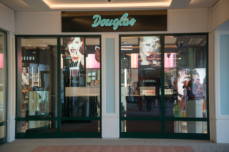 Parndorf, Austria, february 15, 2018: Douglas store in Parndorf, Austria. Douglas is a German perfume and cosmetics retailer based in Hagen, Germany, founded in 1910.