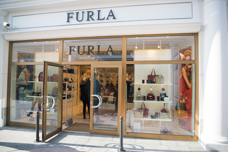 Parndorf, Austria, february 15, 2018: Furla store in Parndorf, Austria. Furla is an Italian luxury company that was created by the Furlanetto family in 1927.