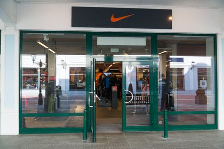 Parndorf, Austria, february 15, 2018: Nike store in Parndorf, Austria. Nike is an American multinational corporation founded in 1964 by Bill Bowerman and Phil Knight. Editorial
