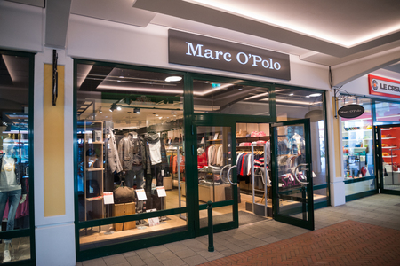 Parndorf, Austria, february 15, 2018: Marc O Polo store in Parndorf, Austria. Marc O Polo is a Swedish-German fashion label founded in 1967 by Rolf Lind, Gte Huss and Jerry OSheets.