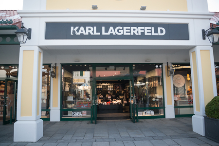 Parndorf, Austria, february 15, 2018: Karl Lagerfeld store in Parndorf, Austria. Karl Lagerfeld is a clothing company founded by german creative director, artist, and photographer Karl Lagerfeld. Editorial
