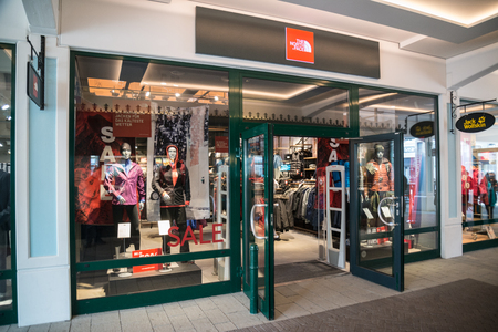 Parndorf, Austria, february 15, 2018: North Face store in Parndorf, Austria. The North Face, Inc. is an American outdoor product company founded in 1968.