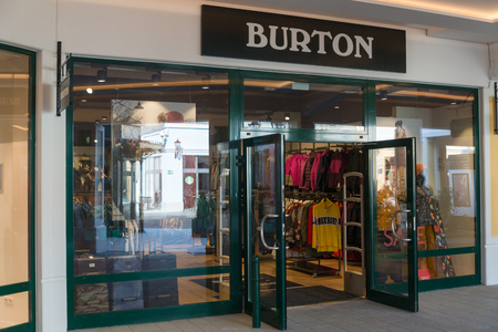 Parndorf, Austria, february 15, 2018: Burton store in Parndorf, Austria. Founded by Jake Burton Carpenter in 1977, the company specializes in a product line aimed at snowboarders. Editorial