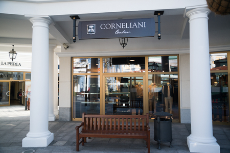 Parndorf, Austria, february 15, 2018: Corneliani store in Parndorf, Austria. Corneliani is an Italian menswear manufacturer best known for its suits and sportcoats founded in 1958 in Mantua, Italy