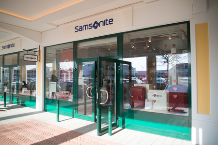 Parndorf, Austria, february 15, 2018: Samsonite store in Parndorf, Austria. Samsonite is an American luggage manufacturer and retailer founded in Denver.