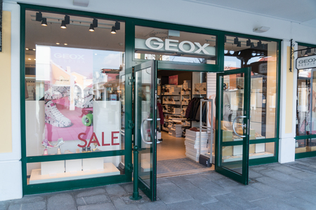 Parndorf, Austria, february 15, 2018: Geox store in Parndorf, Austria. Geox is an Italian brand of shoe and clothing founded in 1995 by Mario Moretti Polegato
