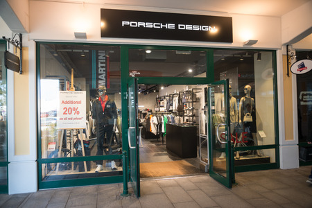 Parndorf, Austria, february 15, 2018: Porsche design store in Parndorf, Austria. Porsche design based in Ludwigsburg, Germany, was founded in November 2003. Editorial