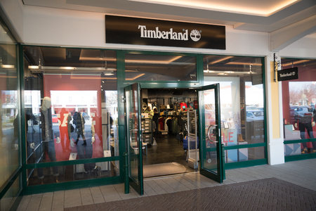 Parndorf, Austria, february 15, 2018: Timberland store in Parndorf, Austria. Timberland is an American manufacturer and retailer of outdoors wear founded in 1918 by Nathan Swartz Editorial