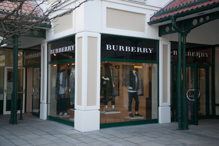 Parndorf, Austria, february 15, 2018: Burberry store in Parndorf, Austria. is a British luxury fashion house headquartered in London established in 1856 by Thomas Burberry.