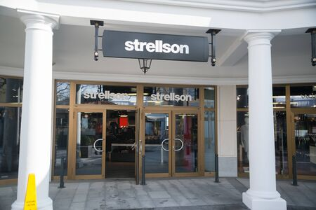 Parndorf, Austria, february 15, 2018: Strellson store in Parndorf, Austria. Strellson was founded in 1984 by fashion entrepreneurs and former Hugo Boss owners Uwe and Jochen Holy. Editorial