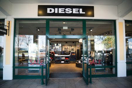 Parndorf, Austria, february 15, 2018: Diesel store in Parndorf, Austria. Diesel is an Italian retail clothing company, located in Breganze, Italy founded in 1978 by Adriano Goldschmied and Renzo Rosso
