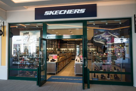 Parndorf, Austria, february 15, 2018: Skechers store in Parndorf, Austria. Skechers is an American lifestyle and performance footwear company founded in 1992 by Robert Greenberg.