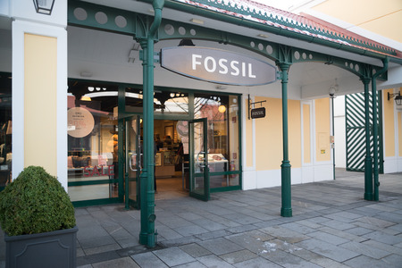 Parndorf, Austria, february 15, 2018: Fossil store in Parndorf, Austria. Fossil is an American fashion designer and manufacturer founded in 1984 by Tom Kartsotis and based in Richardson, Texas.