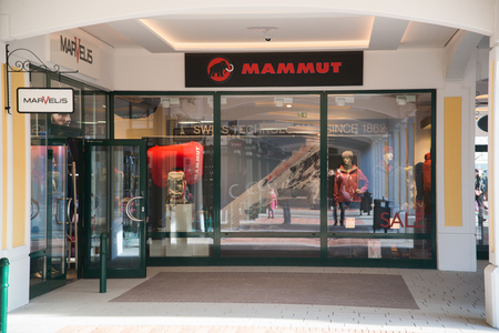 Parndorf, Austria, february 15, 2018: Mammut store in Parndorf, Austria. Mammut Sports Group AG is a Swiss producer of mountaineering and trekking equipment with headquarters in Seon, Switzerland.