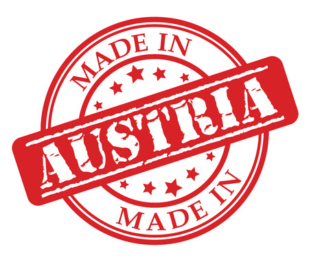 Made in Austria red rubber stamp illustration vector on white background