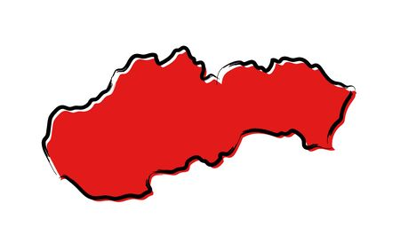 Stylized red sketch map of Slovakia isolated on plain  background