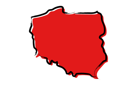 Stylized red sketch map of Poland isolated on plain  background