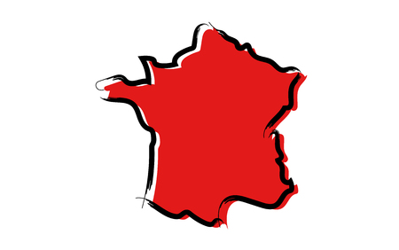 Stylized red sketch map of France isolated on plain  background