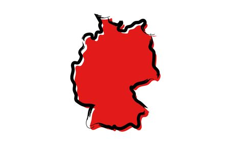 Stylized red sketch map of Germany isolated on plain  background