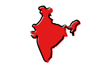 Stylized red sketch map of India isolated on plain  background