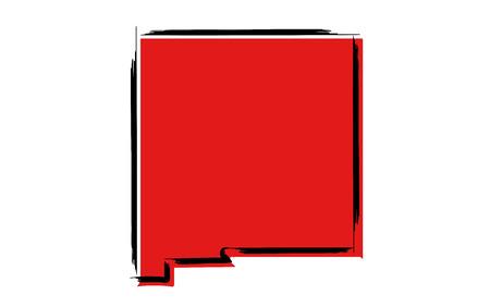 Stylized red sketch map of New Mexico Ilustração
