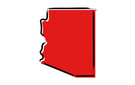 Stylized red sketch map of Arizona