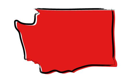 Stylized red sketch map of Washington Ilustrace