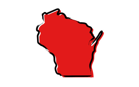 Stylized red sketch map of Wisconsin