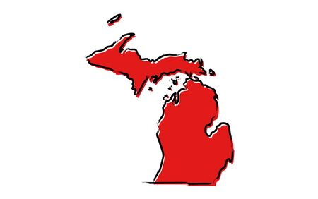 Stylized red sketch map of Michigan