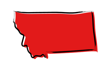 Stylized red sketch map of Montana
