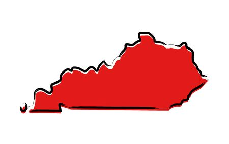 Stylized red sketch map of Kentucky