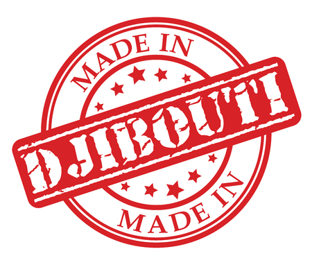 Made in Djibouti red rubber stamp illustration vector on white background