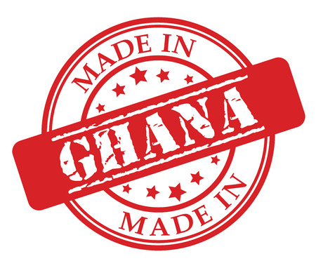 Made in Ghana red rubber stamp illustration vector on white background