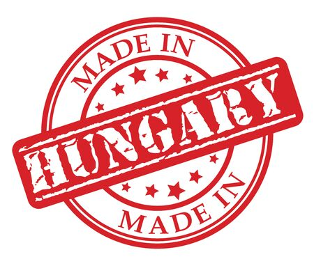Made in Hungary red rubber stamp illustration vector on white background.