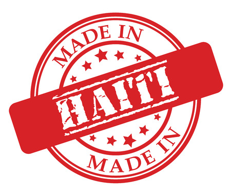 Made in Haiti red rubber stamp illustration vector on white background