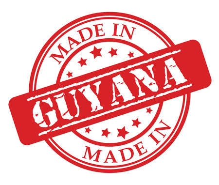 Made in Guyana red rubber stamp illustration vector on white background.
