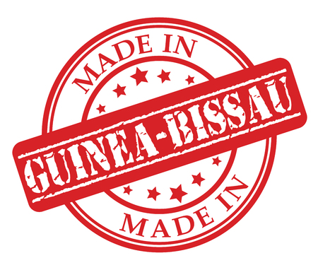 Made in Guinea-Bissau red rubber stamp illustration vector on white background