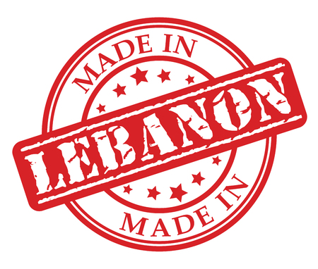 Made in Lebanon red rubber stamp illustration vector on white background