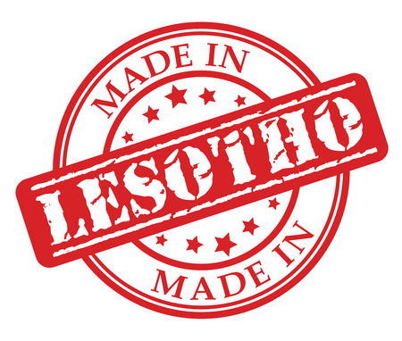 Made in Lesotho red rubber stamp illustration vector on white background Illustration