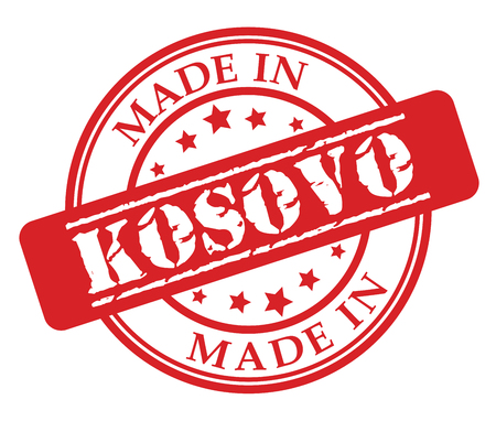 Made in Kosovo red rubber stamp illustration vector on white background