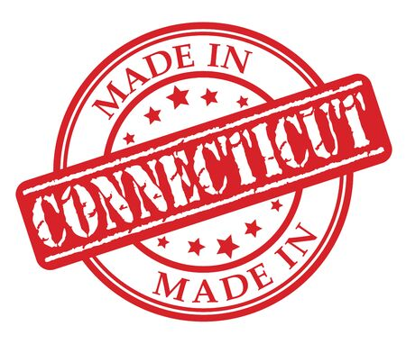 Made in Connecticut red rubber stamp illustration vector on white background