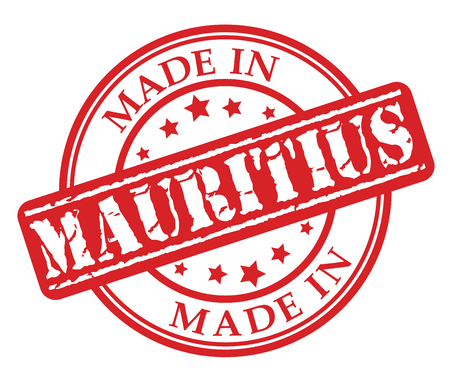 Made in Mauritius red rubber stamp illustration vector on white background Illustration