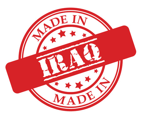 Made in Iraq red rubber stamp illustration vector on white background Illustration