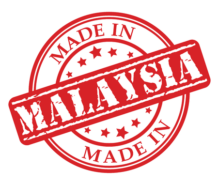 Made in Malaysia red rubber stamp illustration vector on white background