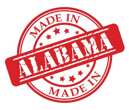 Made in Alabama red rubber stamp illustration vector on white background Illustration